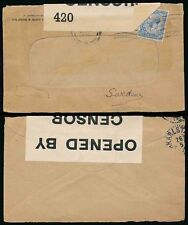 GB WW1 CENSORED 1916 to SWEDEN RYLANDS + SONS PERFIN on WINDOW ENVELOPE
