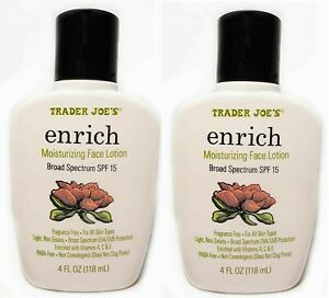 ⚡ 2-Packs Trader Joe's Enrich Moisturizing Face Lotion SPF 15 FREE SHIPPING ❤️