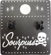 60149 Black Spider Stud Earrings Punk Goth Alt Widow Halloween Novelty Sourpuss