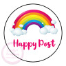 Rainbow Happy Post Thank You Stickers Seals Labels Orders Customer Good News