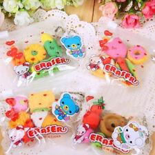 Creative 4Pcs Cake Hamburger Food Drink Fruit Rubber Erasers Kawaii Novelty