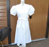 blouse de travail femme années1950 blanc boulangerie T 44 46 ballon vintage