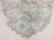 Luxurious new Italian design for its embroidery Silver/white Beaded Lace Wedding