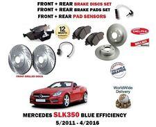 FOR MERCEDES SLK350 2011-2016 FRONT + REAR BRAKE DISCS SET + PADS + SENSORS KIT