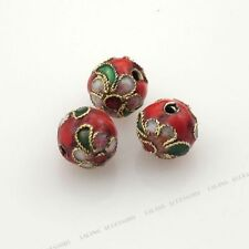 50pcs Wholesale Red Flower Enamel Cloisonne Spacer Beads Jewelry Findings 8mm BS