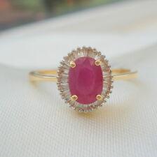 1.25ct AAA Burmese Ruby & SI Diamond 18k Gold Engagement Ring