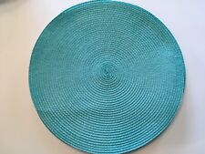"Classic Round Placemats Woven Turquoise Blue 14.5"" Diameter SET of EIGHT New"
