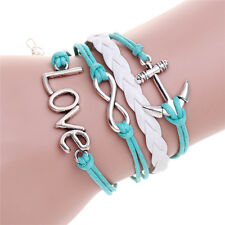 New Silver Plated Anchor Love 8 Leather Charm Bracelet Friendship Cute Bangle