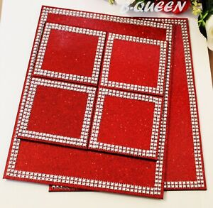 SILVER DIAMANTE GLITTER RED FAUX LEATHER 6 PIECE PLACEMAT COASTER SET X-MAS GIFT