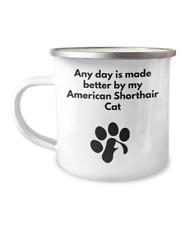 American Shorthair Cat Camping Mug Coffee Tea Paw Print Cat Lover Furbaby