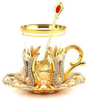 Turkish Tea Glass, Tea Mug,Turkish TeaCup Set and Saucer Gold Silver One Person