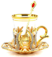 Turkish Tea Glass, Arabic Turkish Tea Cup Set and Saucer Gold Silver One Person