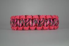 550 Paracord Survival Bracelet Cobra Pink/Pink Camo Camping Military Tactical