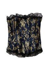 Women's Dark Blue & Gold Lacey Hook & Eye Corset Top Size XS/S