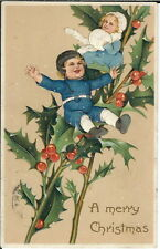 Ba-140 - A Merry Christmas, Boy and Girl on Holly Branches, 1907-1915 Postcard