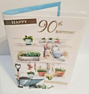 90TH BIRTHDAY CARD FOR HIM 90 YEARS OLD GORGEOUS MALE  CARD GARDENING FAVS