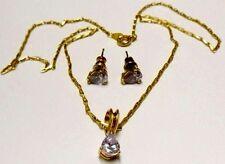 parure pendentif boucles d'oreilles clous bijou vintage plaqué or améthyste  491