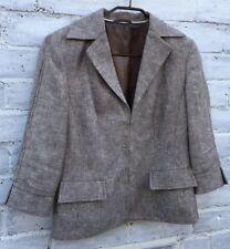 AUSTIN REED Ladies Pure Linen Beige Fitted Blazer Jacket 3/4 Sleeves UK12 VGC