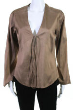 Calypso Christiane Celle Womens Silk Deep V Neck Blouse Brown Size Small
