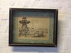 Vintage Signed Marcel Bessay French Etching Print la Place de la Concorde