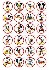 24 Mickey Mouse Wafer / Rice Cupcake Topper Edible Fairy Cake Bun Toppers
