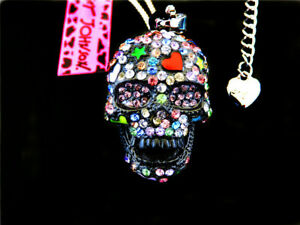 Betsey Johnson Colorful Crystal Skull Head Charm Pendant  Necklace