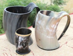 Pair of Viking drinking horn Tankard with free shot cup for groomsmen bridesmaid