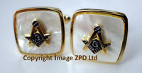 ZP361 Masonic Cufflinks Freemason Square Compass Vintage Style G Pearlescent