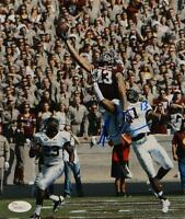 Mike Evans Autographed *Blue Texas A&M 8x10 Leaping Photo- JSA Witnessed Aut