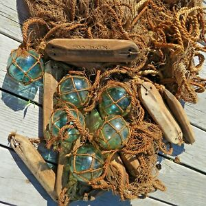 "Japanese Glass FLOATS 3""-6 +Wood-12 +Top Line+Netting ALL Attached Work Cluster"