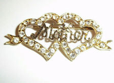 Stunning Vintage Solid Silver gilt Double Heart Mother Brooch full hallmarks