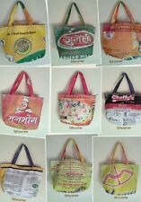 RECYCLED Rice Sack Bag Shopping Small Tote Handmade Nepal Fairtrade