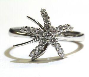 18k white gold .24ct starfish nautical ocean sea fish diamond womens ring 3.2g