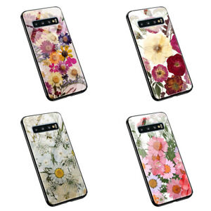 Real dried pressed Bunch of  flowers L205 tempered glass silicone case