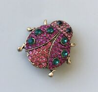 Vintage style  Ladybug brooch pin gold tone metal with crystals