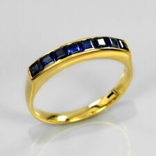 1.20 Carat t.w 8pcs Natural Royal Blue Sapphire Ring 14K Solid Yellow Gold