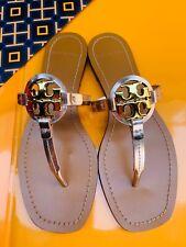 Tory Burch MINI MILLER Leather Thong Flat Sandals Mirror Metallic Rose Gold Sz 7