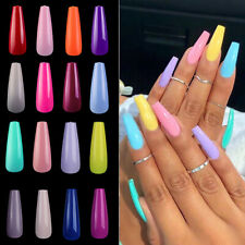 False Nail Tips Acrylic Full Cover Long Coffin Fake Nail Art Manicure 100Pcs/Set