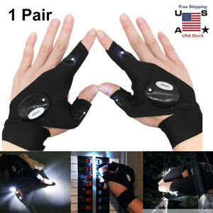 2 Outdoor Night Light Waterproof Fishing Gloves with LED Flashlight Rescue Tools