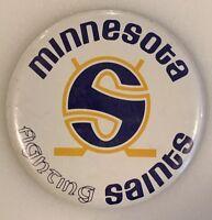 "Vintage Button Pin Pinback Minnesota Fighting Saints Club Minty 3 1/2"" Hockey"