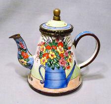Kelvin Chen Enamel on Copper Flowers in Watering Can Miniature Teapot