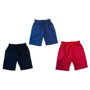 Boys Kids Plain Shorts Fleece PE School Summer Gym Sports Navy Red Black Cotton