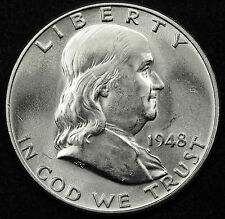 1948-p  Franklin Half Dollar. 100% Fully Separated Bell Line's. BU.  (INV.A)