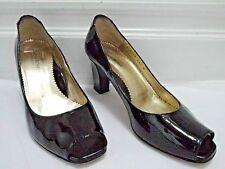 TARYN ROSE black patent leather peep-toe heels pumps shoes size 38.5