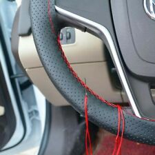 Black Genuine Leather Breathable Non Slip Car Steering Wheel Cover Needle Thread