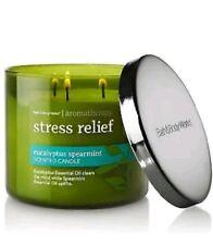 Bath Body Works 3 Wick Candle Aromatherapy STRESS RELIEF EUCALYPTUS  SPEARMINT