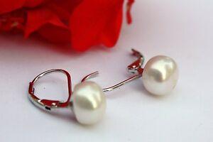 YR005  7,5 mm Süßwasser Perlen Schmuck Ohrringe Ohrstecker Ohrhänger 925 Silber