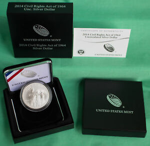 2014 Civil Rights Act of 1964 BU Silver Dollar US Mint UNC $1 Coin Box and COA