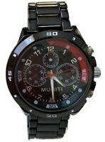 Mens Dress Watch Muniti MT1001G.1 Black Bracelet Band and Dial Water Proof 3 ATM