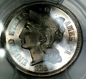 1886 3cn PCGS Proof 67 CAMEO  only 1 finer CAM